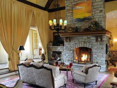 quebec chalet hot tub fireplace 11