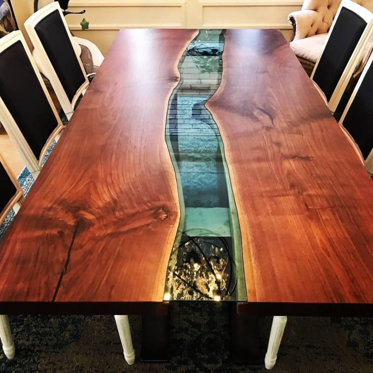 Live Edge black walnut river table 2