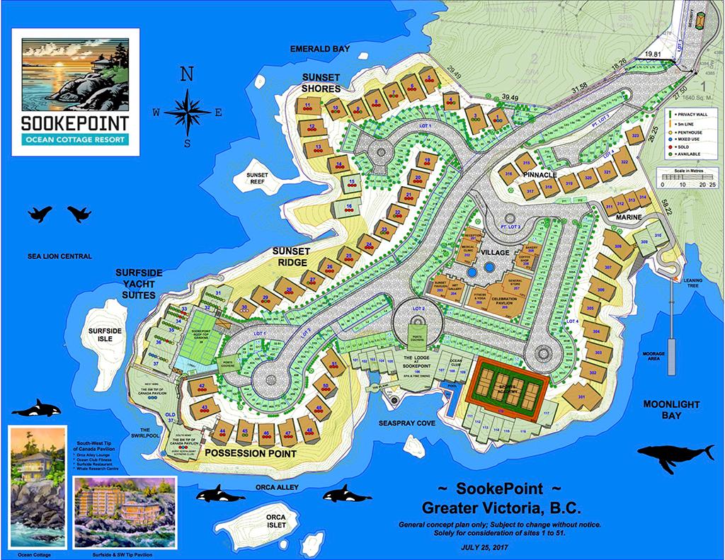 SookePoint Ocean Cottage Resort site plan – Luxury Residence